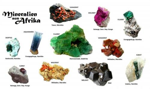 Classic minerals from different African countries (Author: Tobi)