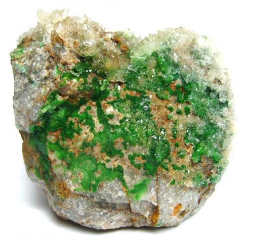Conichalcite, Calcite Gold Hill Mine (Western Utah Mine), Gold Hill, Gold Hill District (Clifton District), Deep Creek Mts, Tooele Co., Utah, USA Specimen size 8 cm (Author: Tobi)