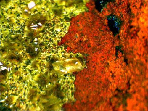 Duftite and Calcite on a Limonite Matrix Mina Ojuela, Mapimí, Durango, Mexico 12 cm x 9.5 cm x 2.5 cm (Author: Mark Ost)