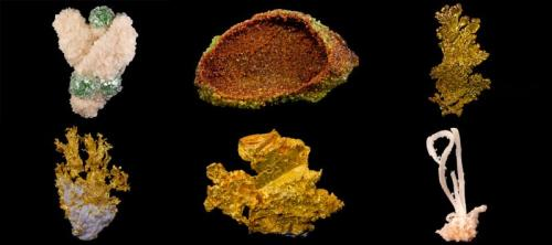 Six more specimens from the Hoppel Collection - a Fluorapophyllite, a Garnet, three Golds and a Gypsum. (Author: BlueCapProductions)