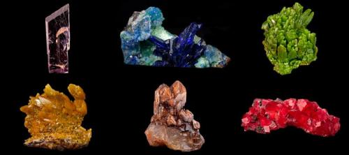 Six more specimens from the Hoppel Collection - a Kunzite, a Linarite, two Pyromorphites, a Quartz and a Rhodochrosite. (Author: BlueCapProductions)