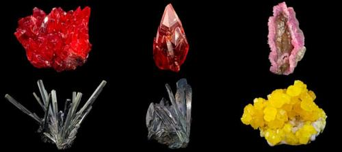 Six more specimens from the Hoppel Collection - two Rhodochrosites, a Rose Quartz, two Stibnites and a Sulfur (Author: BlueCapProductions)