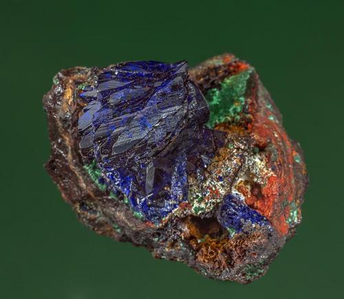 Azurite with Malachite Copper Queen Mine, Bisbee, Warren District, Mule Mts, Cochise Co., Arizona, USA 4.0 x 3.3 cm (Author: am mizunaka)