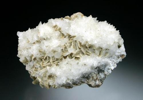 Alstonite on Barite Brownley Hill Mine, Nenthead, Alston Moor, Cumbria, England, UK 8 cm across (Author: Jesse Fisher)