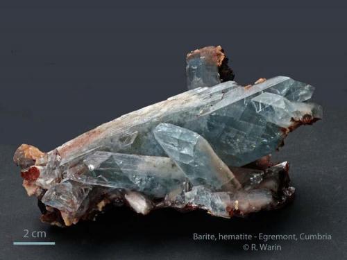 Barite and hematite Egremont, Cumberland, Cumbria, UK 12 cm wide (Author: Roger Warin)