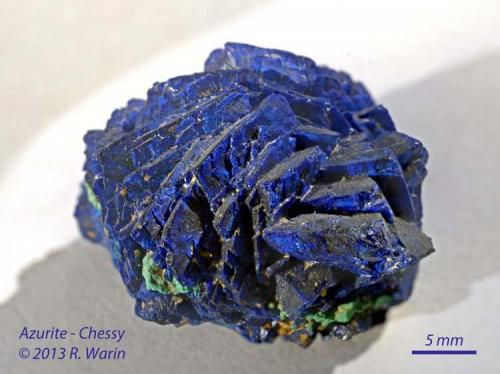 Azurite Chessy, Rhône, France 3 cm diam. globular aggregate (Author: Roger Warin)