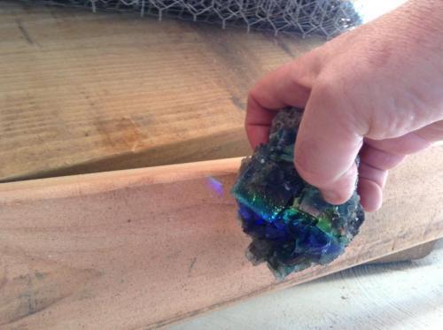 Fluorite and maybe garage doorite Rogerly England 3cm x 5cm x3cm (Author: Mark Ost)