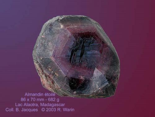 "Almandine ""Star Garnet"" Fanotaniana, Lake Alaotra, Madagascar. (Author: Roger Warin)"