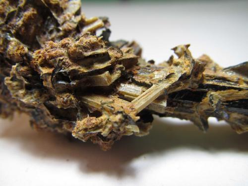 Albita (variedad andesina) e ilmenita Portland Harbour Trust Quarry, Cape Sir William Grant, Portland, Victoria, Australia 3 cm. ancho de campo Detalle de la pieza anterior.  Primer plano de los cristales de andesina. (Autor: prcantos)