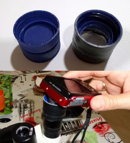 adaptador casero estereomicroscopio-cámara compacta. (Autor: Cristalino)