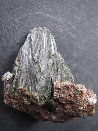 Ferroactinolita (variedad uralita) Minas de Cala, Cala, Huelva, Andalucía, España 5'5 x 4'5 cm. Detalle del dorso del mismo agregado. (Autor: prcantos)