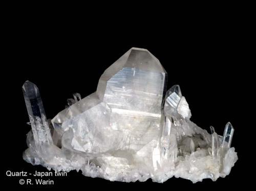 Quartz (Japan Law twin) Mt Ida, Montgomery Co., Arkansas, USA 15 cm wide (Author: Roger Warin)