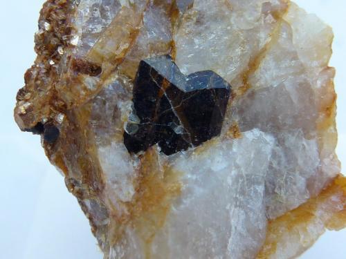 Casiterita, Cuarzo, Mica<br />Mina Teva, Casas de Millán, Cáceres, Extremadura, España<br />Cristal de 0,2 cm.<br /> (Autor: javier ruiz martin)