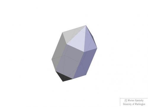 _Esquema vanadinita. Gracias al programa que me facilitó Pablo Cantos en su visita, voy a poder representar fácilmente lo que veo en los cristales. En este caso cristal ideal -biterminado por tanto- del prisma hexagonal y la bipirámide. (Autor: Antonio Alcaide)