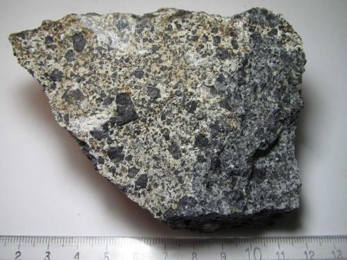 Essexita (gabro nefelínico) Crawfordjohn, South Lanarkshire, Escocia, Reino Unido 10 x 7 cm. Otra muestra de essexita, esta vez con algo de alteración que produce una matrix aclarada que da mayor visibilidad a los cristales de piroxeno. (Autor: prcantos)