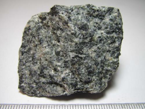 Gabro Orange County, North Carolina, Estados Unidos 4 x 3'5 cm. Gabro de grano fino o medio, muy cristalino, más claro que los anteriores por su mayor contenido en plagioclasa. (Autor: prcantos)