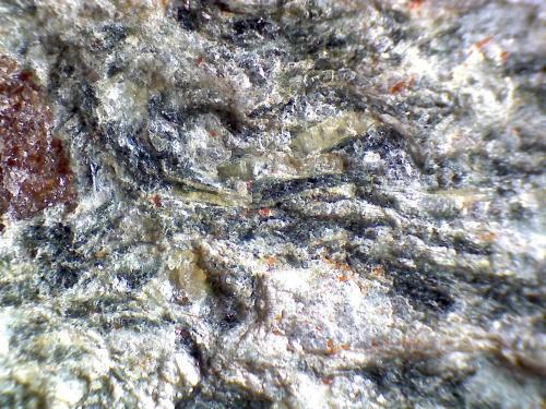 """Anfibolita con granate Río Sucio, Órgiva, Granada, Andalucía, España 60X Detalle de la roca anterior.  Microfotografía que muestra un granate almandino (izquierda) y los cristales acumulados en su """"cola"""" (sombra de presión), y que son probablemente epidota (verde oliváceo) y anfíbol (verde oscuro o negro), junto a la plagioclasa blanca y la mica clara.  Los minúsculos cristales anaranjados pueden ser zircones, muy abundantes en estas rocas, y que permiten, por sus propiedades radiactivas, efectuar dataciones absolutas. (Autor: prcantos)"""