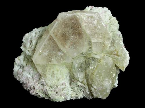 Beryl ( variety morganite ) with Elbaite on Albite (variety cleavelandite)<br />Cryo-Genie Mine, Warner Springs, Warner Springs District, San Diego County, California, USA<br />121 x 91 x 70 mm<br /> (Author: GneissWare)