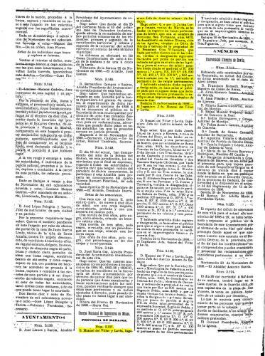 """Página 2 del Boletín Oficial de la Provincia de Badajoz, de fecha 26/11/1898, donde se publica la solicitud y la admisión de la mina """"Novísimo San Fernando"""", con nº 4473, de hierro, y 20 pertenencias de superficie (Autor: Inma)"""