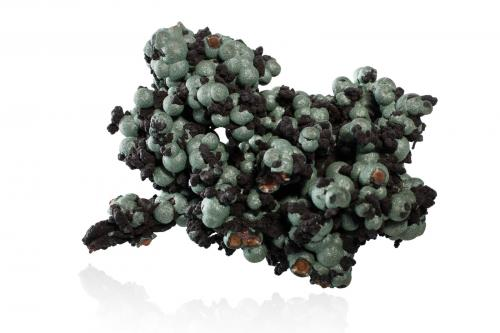 Andrewsite with Rockbridgeite and Hentschelite<br />Wheal Phoenix, Mina Phoenix United, Minions, Linkinhorne, Distrito Liskeard, Cornwall, Inglaterra, Reino Unido<br />6.5 x 4.5 x 4.5 cm<br /> (Author: MIM Museum)