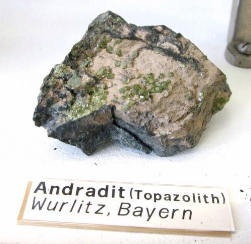 Andradite<br />Heß Quarry, Münchberg Metamorphic complex, Wurlitz, Oberkotzau, Hof, Oberfranken, Bavaria/Bayern, Germany<br />Approx. 8-10 cm<br /> (Author: Tobi)