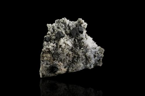 Acanthite on Quartz<br />Hidalgo, México<br />8,5	x	6,5	x	2,0	cm<br /> (Author: MIM Museum)