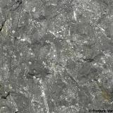 Cornubianita con Andalucita (variedad quiastolita)Santa Seclina, Caldes de Malavella, Comarca La Selva, Girona/Gerona, Catalunya, EspañaDetalle. Encuadre 6 x 5 cm. (Autor: Frederic Varela)