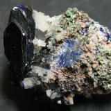 Azurite and Cerussite<br />Tsumeb Mine, Tsumeb, Otjikoto Region, Namibia<br />40x30x30mm<br /> (Author: Heimo Hellwig)