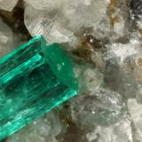 Beryl (variety emerald), Calcite, Pyrite, Quartz<br />Muzo mining district, Western Emerald Belt, Boyacá Department, Colombia<br />56x46x34mm, xl=13mm<br /> (Author: Fiebre Verde)