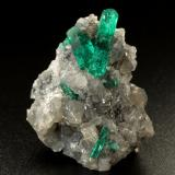Beryl (variety emerald), Calcite, Dolomite, Pyrite<br />La Pita mining district, Cunas Mine, Municipio Maripí, Western Emerald Belt, Boyacá Department, Colombia<br />28x33x28mm, main xls=18mm &amp; 9mm<br /> (Author: Fiebre Verde)