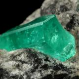 Beryl (variety emerald), Calcite<br />Coscuez mining district, Municipio San Pablo de Borbur, Western Emerald Belt, Boyacá Department, Colombia<br />44x41x23mm, xl=15x9x7mm<br /> (Author: Fiebre Verde)