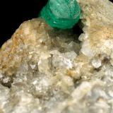 Beryl (variety emerald), Calcite, Pyrite<br />Chivor mining district, Municipio Chivor, Eastern Emerald Belt, Boyacá Department, Colombia<br />56x63x43mm, xl=30x7mm<br /> (Author: Fiebre Verde)