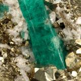 Beryl (variety emerald), Albite (variety cleavelandite), Pyrite<br />Chivor mining district, Municipio Chivor, Eastern Emerald Belt, Boyacá Department, Colombia<br />58x65x50mm, xl=30mm<br /> (Author: Fiebre Verde)