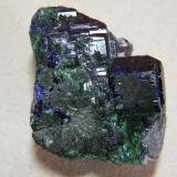 Azurite<br />Tsumeb Mine, Tsumeb, Otjikoto Region, Namibia<br />35x40x15mm<br /> (Author: Heimo Hellwig)