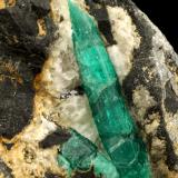 Beryl (variety emerald), Calcite, Pyrite, Rutile<br />Chivor mining district, Municipio Chivor, Eastern Emerald Belt, Boyacá Department, Colombia<br />65x74x63mm, main xl=40mm<br /> (Author: Fiebre Verde)