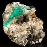 Beryl (variety emerald), Calcite, Dolomite, Pyrite<br />La Pita mining district, Cunas Mine, Municipio Maripí, Western Emerald Belt, Boyacá Department, Colombia<br />60x57x28mm, xls=20mm & 16mm<br /> (Author: Fiebre Verde)