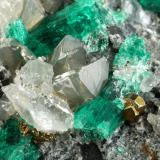 Beryl (variety emerald), Calcite, Dolomite, Pyrite<br />La Pita mining district, Municipio Maripí, Western Emerald Belt, Boyacá Department, Colombia<br />98x83x35mm, longest xl=20mm<br /> (Author: Fiebre Verde)