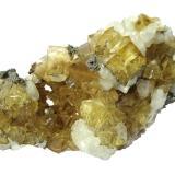 Fluorite, Calcite, Marcasite<br />Moscona Mine, El Llano, Solís, Corvera de Asturias, Comarca Avilés, Asturias, Principality of Asturias, Spain<br />Specimen size 10 cm, largest fluorite 1,3 cm<br /> (Author: Tobi)