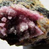 Calcita (variedad cobaltífera)<br />Mina Solita, Peramea, Baix Pallars, Comarca Pallars Sobirà, Lleida/Lérida, Catalunya, España<br />Zona cristalizada, 4 x 2''5 cm.<br /> (Autor: phrancko)