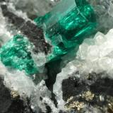 Beryl (variety emerald), Calcite, Pyrite<br />Coscuez mining district, Municipio San Pablo de Borbur, Western Emerald Belt, Boyacá Department, Colombia<br />70x65x43mm, xl=12mm<br /> (Author: Fiebre Verde)