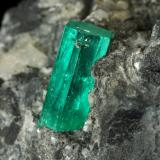 Beryl (variety emerald), Calcite, Pyrite<br />La Pita mining district, Municipio Maripí, Western Emerald Belt, Boyacá Department, Colombia<br />38x63x65mm, xl=10mm<br /> (Author: Fiebre Verde)
