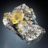 Fluorite<br />Seata Mine, Aysgarth, Wensleydale, North Pennines Orefield, Yorkshire, England, United Kingdom<br />8x5x3 cm overall size<br /> (Author: Jesse Fisher)