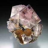 Fluorite with Siderite<br />Weardale, North Pennines Orefield, County Durham, England, United Kingdom<br />8x7x6 cm overall size<br /> (Author: Jesse Fisher)