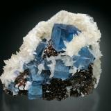 Fluorite, Sphalerite, and Calcite<br />Minerva I Mine, Ozark-Mahoning group, Cave-in-Rock Sub-District, Hardin County, Illinois, USA<br />8x7x6 cm overall size<br /> (Author: Jesse Fisher)