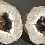 Quartz (variety smoky quartz) on Quartz (variety chalcedony)<br />Monroe County, Indiana, USA<br />Geode is 7 cm<br /> (Author: Bob Harman)