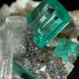 Beryl (variety emerald), Albite (variety cleavelandite), Dolomite, Pyrite<br />Chivor mining district, Manantial Mine, Municipio Chivor, Eastern Emerald Belt, Boyacá Department, Colombia<br />32mm across, main xl=9mm<br /> (Author: Fiebre Verde)