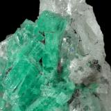 Beryl (variety emerald), Calcite, Pyrite, Quartz<br />Coscuez mining district, Jerusalem Mine, Municipio San Pablo de Borbur, Western Emerald Belt, Boyacá Department, Colombia<br />H:44mm x W:25mm<br /> (Author: Fiebre Verde)
