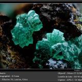 Adamite<br />Hilarion Mine, Hilarion area, Kamariza Mines, Agios Konstantinos, Lavrion Mining District, Attikí (Attica) Prefecture, Greece<br />fov 2.2 mm<br /> (Author: ploum)
