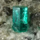 Beryl (variety emerald), Calcite, Dolomite<br />La Pita mining district, Cunas Mine, Municipio Maripí, Western Emerald Belt, Boyacá Department, Colombia<br />38x58x47mm, xl=9mm<br /> (Author: Fiebre Verde)