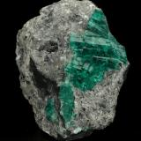Beryl (variety emerald), Calcite<br />Muzo mining district, Western Emerald Belt, Boyacá Department, Colombia<br />55x53x29mm, aggregate=21x27mm<br /> (Author: Fiebre Verde)